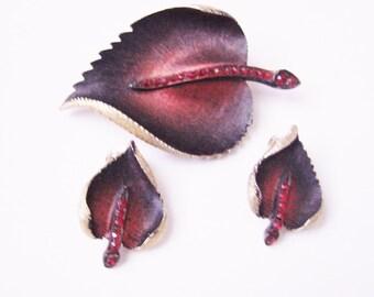 Vintage Leaf Enamel Rhinestone Demi Parure / Brooch / Clip Earrings / Red and Black Enamel / Red Rhinestones / Jewelry / Jewellery