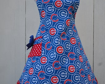 Chicago Cubs Apron,  Woman's Apron, Full Apron, Baseball Aprons, Ready to Ship as Pictured