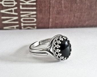 Black Onyx Ring Black Stone Ring Onyx Jewelry Black Gemstone Ring Sterling Silver Ring Gothic Jewelry Black Engagement Ring Filigree Ring