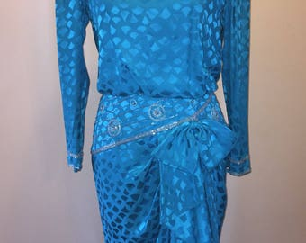 Vintage Turquoise Beaded Evening Dress By A.J. Bari Size 8