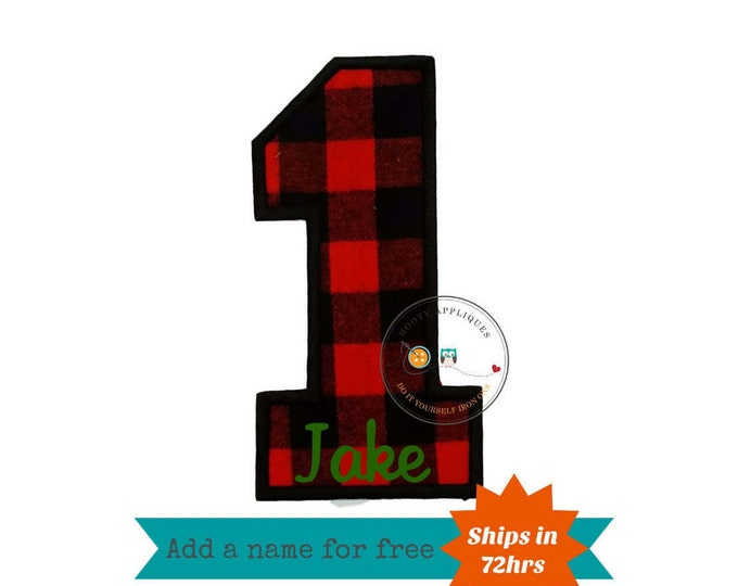 Buffalo plaid birthday number one iron on applique, red and black fabric iron on number 1, buffalo embroidered iron on patch birthday number