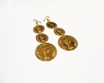 90s Earrings/ Gold Coin Earrings/ Versace Earrings/ Big Gold Earrings/ 90s Club Kid/ Cyber Ghetto/ Vaporwave/ Hip Hop Earrings/ Black Girl