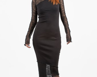 Black Lace Dress, Long Black Dress, Turtelneck, Knit Dress