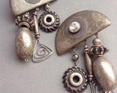 80's Fabulous Huge Runway Statement Clip Earrings Haute Couture, chunky, silver tone, hanging charms, disco, Dynasty, original, egst, Greece