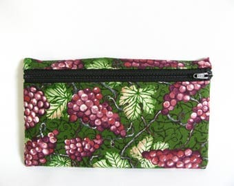 Large Pouch- Grapes and vines print cotton