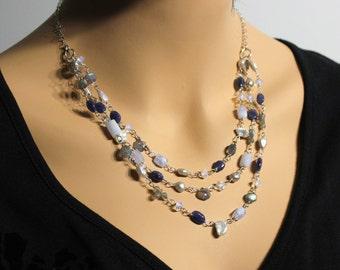 Multi Gemstone Necklace, Sterling Silver, multi strand, blue chalcedony, blue aventurine, labradorite, opalite, pearls, gift for her,3298