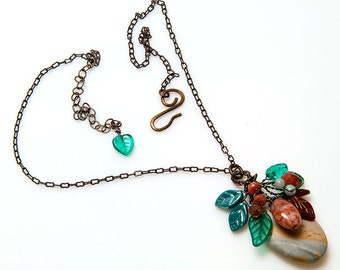 Green and Brown Gemstone Necklace, Nature Jewelry, Teal and Rust Jasper Pendant Necklace, Leaf Necklace, Gift for Her