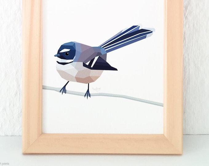 Fantail print, New Zealand fantail, New Zealand native bird art, New Zealand artist, Kiwiana, Kiwi gift, Made in NZ, Kiwi art, NZ home decor