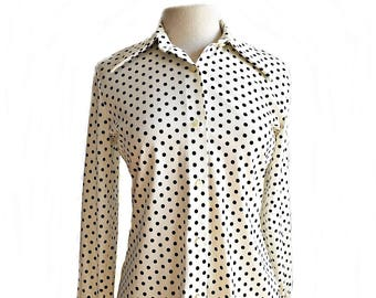 Vintage 70s white shirt with black polka dots / button down office shirt/ preppy shirt/ Personal by Leslie Fay
