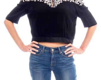 1940s Crepe Beaded Top Size: M