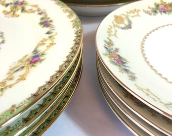 MISMATCHED PORCELAIN DINNER PLATEs 12 Piece 4 Place Settings Floral Gold Trim Dinner Plates Salad Plates Soup Bowls Wedding Holiday Table