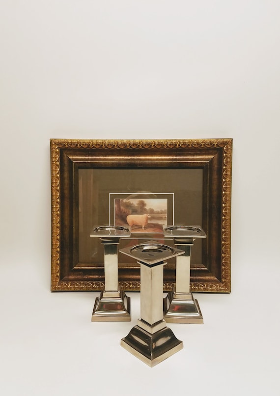 Pillar Candle Holders Set 3 Zodax Nickel Classic Contemporary Lines