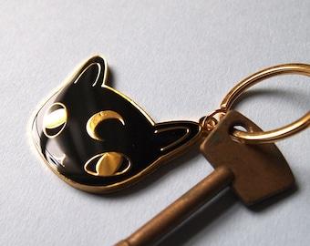 Black Cat Enamel Keyring - I like cats - Keyring - Cat kering - Enamel keyring - Black cat - Cats - Cat gift - Keychain - Moon Cat