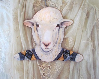 Large Sheep Head Display Hanger With Argyle Sweater Vest