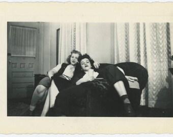 Two Women, Three Pairs of Legs, c1940s: Vintage Snapshot Photo (75579)