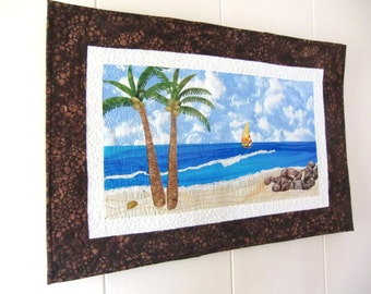 Landscape Art Quilt, Tropical Beach, Coastal Decor, Ocean Wall Art, Wall Hanging, Palm Trees, Textile Fiber Art, OOAK, Handmade in Hawaii