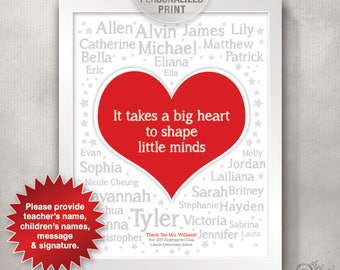 Kindergarten Graduation / Personalized Teacher Appreciation Print from Class / Big Heart Little Minds / Class Gift // 8x10