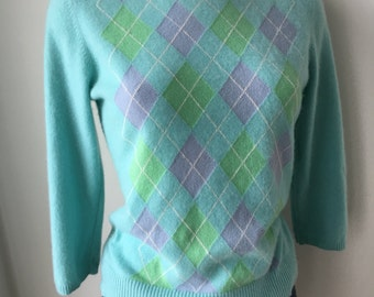 Argyle cashmere sweater robin egg blue fuzzy soft 100% cashmere round neck elbow sleeves gift for her preppy fashion pullover chest 38 ""