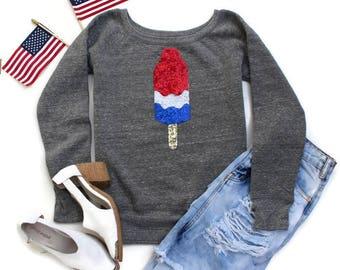 4th of July Shirt Women. Sequin Bomb Pop Sweatshirt or T Shirt. USA Shirt. American Flag Bomb Pop. Cute Fourth of July Tee. Red White Blue