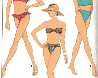 Simplicity 8634 Misses' Retro 1990s Two Piece Bikinis Swimsuits Sewing Pattern