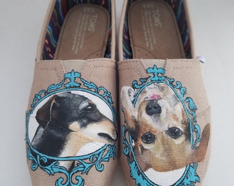 Pet Portrait shoes - Pet Momento - Custom Hand Painted TOMS Shoes - Customizable