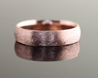Rose Gold Men's Wedding Band Brushed Comfort Fit - 5mm