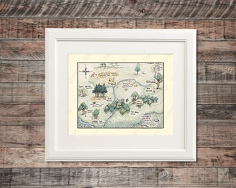 Winnie The Pooh Inspired Wall Art | Christopher Robin, 100 Acre Wood Themed | Poster Print, any size | Nursery Decoration, Baby Kid Room