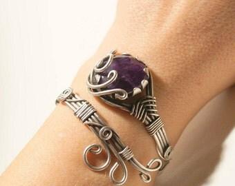Amethyst bracelet-amethyst cuff bracelet -amethyst jewellery-wire wrapped jewelry handmade-Adjustable bracelet-silver bracelet