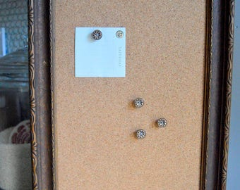 Cork Memo Board. Antique Frame, Hardware and Button Thumb Tacks