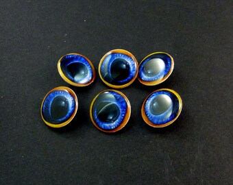 "6 Blue Animal Eye  Sewing Buttons.  Handmade By Me.  Shank Buttons. 3/4"" or 20 mm round.  Washer and Dryer Safe."