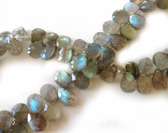 Labradorite faceted briolettes.  Approx. 5.25x7-7.25mm.  Select a quantity.