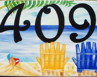 Beach house numbers, Tropical, Ocean, Palm tree, Ceramic house numbers, Hand painted beach house number sign with palm tree.