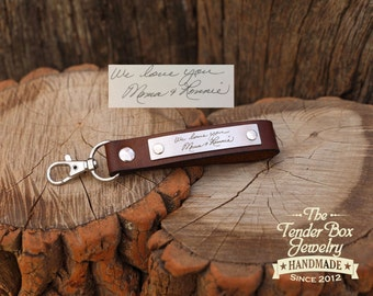 Custom Handwriting Engraved Personalized Leather Key Fob Lanyard with Stainless Plate Keychain Keyring Key Ring Leather cuff