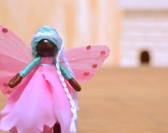 Miniature Fairy Doll - miniature fairies, waldorf fairy doll, black fairies, flower fairy doll, flower fairies, mini fairy doll, pixie
