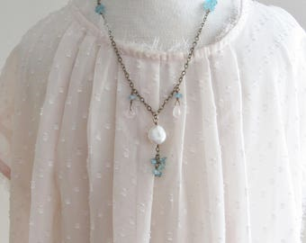 Apatite Rose Quartz and Pearl Necklace, Pink and Blue Necklace, Gemstone Coin Pearl Necklace