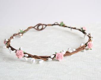 Pale Pink Rose Flower Crown, rose flower crown, spring wedding, summer wedding, flowergirl garland, floral crown, bridesmaid - LAYNA