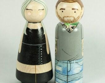 Custom Peg Dolls - Couples Portrait - Custom Portrait - Peg Dolls - Peg Doll Portrait - Cake Toppers - Personalized Gift - Anniversary gift