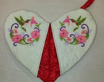 Humming Bird - Heart Shape Pot Holder #15