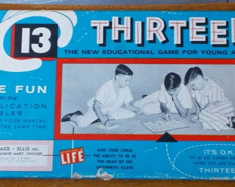 Vintage Thirteen Multiplication Numbers Educational Board Game 1955