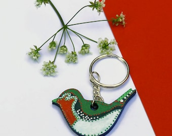 Bird Keychain, Bird Keyring, Animal Keychain, Animal Keyring, Robin Keychain, Hand Painted Keyring, Decorative Keychain, Original Keychain
