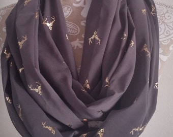 Gray Chiffon deer head scarf, Infinity Scarf , Woman scarves, Gray scarf, scarf, circle scarf, gift for her,