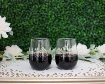 Personalized Stemless Wedding Wine Glasses - (Set of TWO) Custom Engraved Vina Wine Glasses Personalized Couples Engagement Gift Anniversary