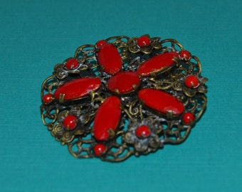 Vintage Red Glass Flower Star Pin
