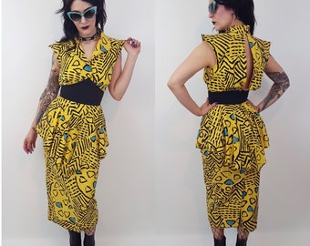 80's Yellow Abstract Dress - Vintage Yellow Abstract Print 1980s Dress - Womens XSmall Spring Summer Unique Peplum Blue Black Yellow Dress