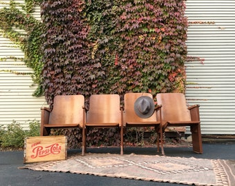 Vintage Wood Folding Theater Seats, Set Of Four Wood Stadium Seats,  Entryway Bench, Wood Church Pew