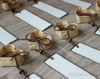 12 Rustic Wedding Heart Place Card Holders, Small Personalized Heart Name Card, Wedding Dinner Table Place Setting Heart Wedding Table Decor