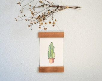 Wooden Frame Handmade Paper Cactus Art Print - Home Decor - Cactus Wall Art - Succulent Art