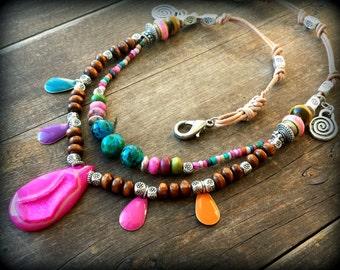 Colorful hippie choker, boho choker, bohemian choker, pink druzy necklace, ethnic boho jewelry, tribal fusion, afrocentric necklace