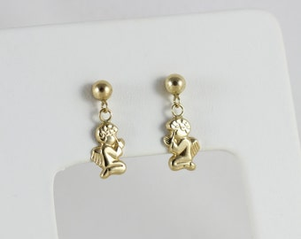 14k Yellow Gold Angel Earrings Angels Praying Dangle Drop Earrings