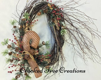 Christmas Wreath, Candy Cane Wreath, Holiday Wreath, Holiday Door Decor, Christmas Decor, Rustic Wreath, Christmas Wreaths, Prim Christmas